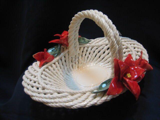 Декоративная керамическая Корзина Пуансетия,...